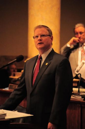 Sen. Maj.Floor Leader Damon Thayer, R-Georgetown, gazes at the vote-count board, realizing his defeat.
